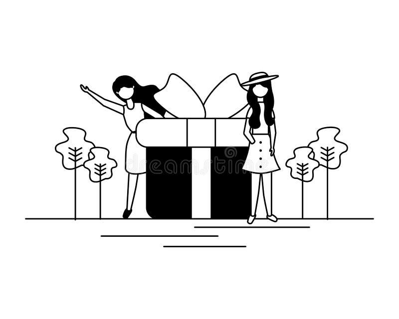 Caja de regalo de la mujer libre illustration