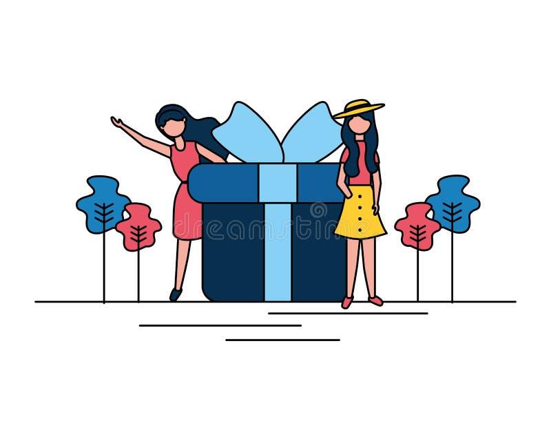 Caja de regalo de la mujer ilustración del vector