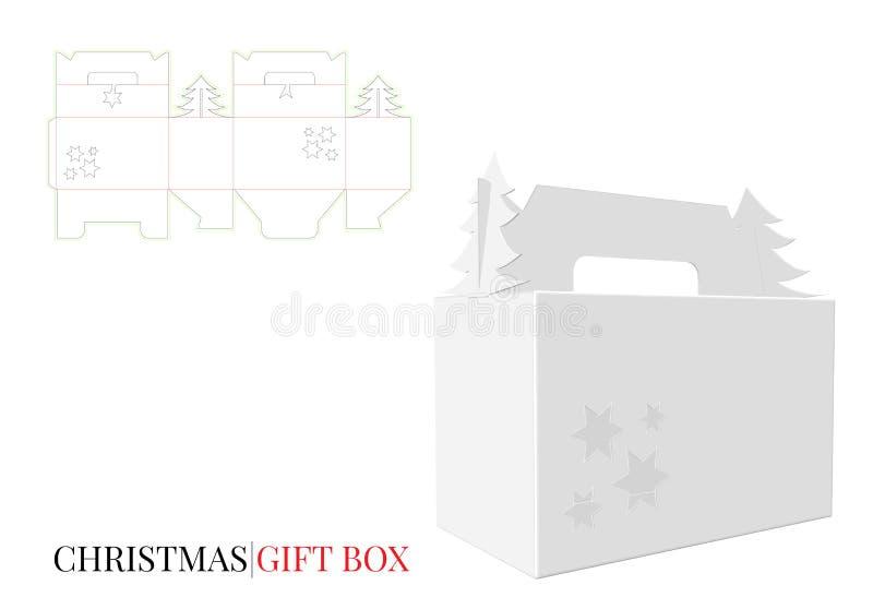 Caja de regalo de la Navidad con la manija stock de ilustración
