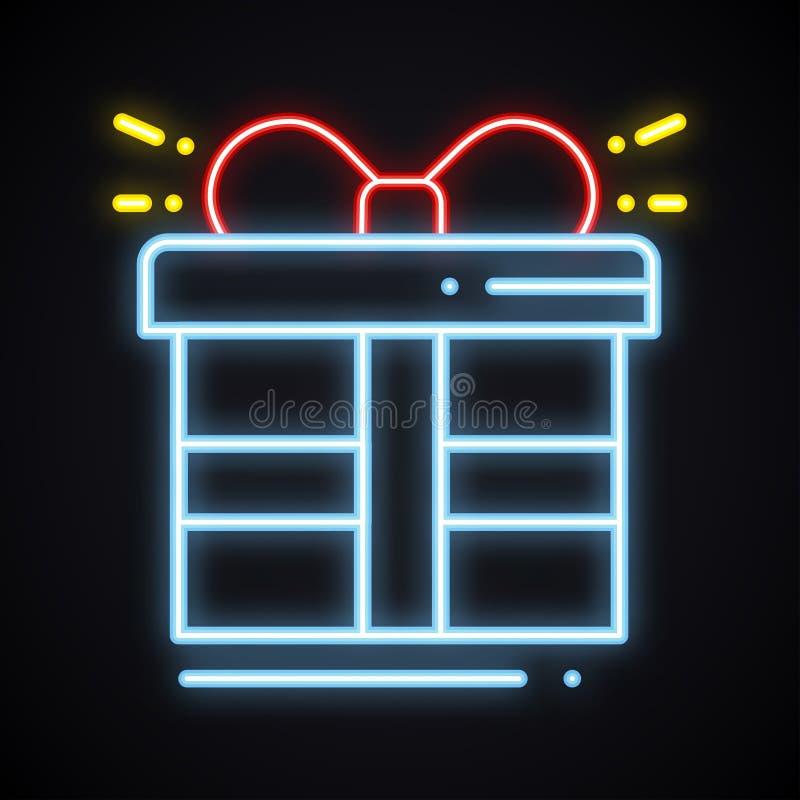 Caja de regalo de neón con la muestra de la cinta Premio, presente, triunfo, prima, recompensa, tema de la caja de regalo Símbolo stock de ilustración