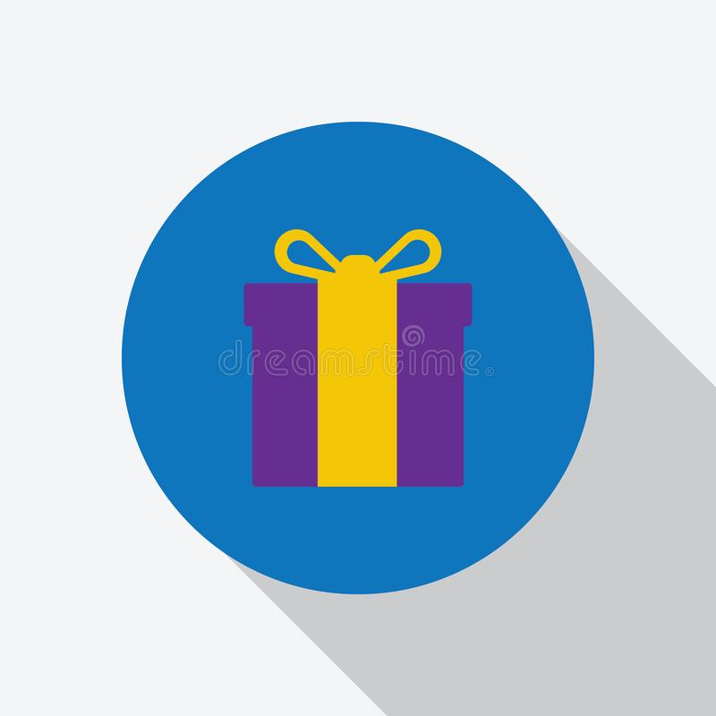 Caja de regalo púrpura amarilla del color con el icono de la cinta ilustración del vector