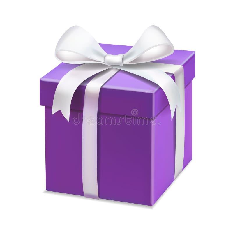 Caja de regalo púrpura realista con la cinta blanca para el aniversario, tarjetas del día de San Valentín stock de ilustración