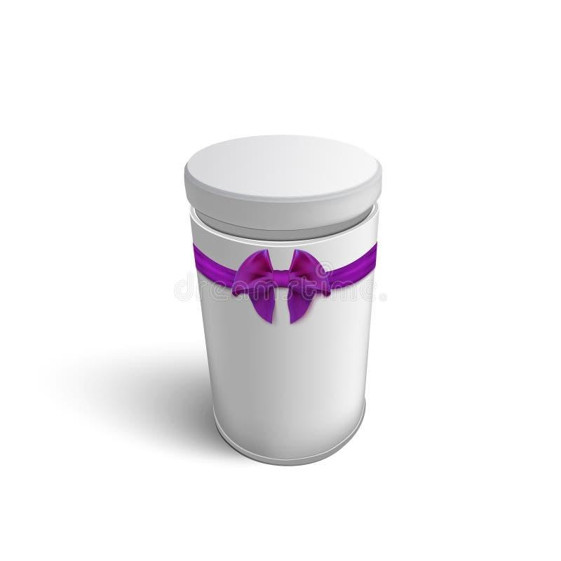 Caja de regalo redonda blanca con Violet Purple Ribbon y ilustración del vector