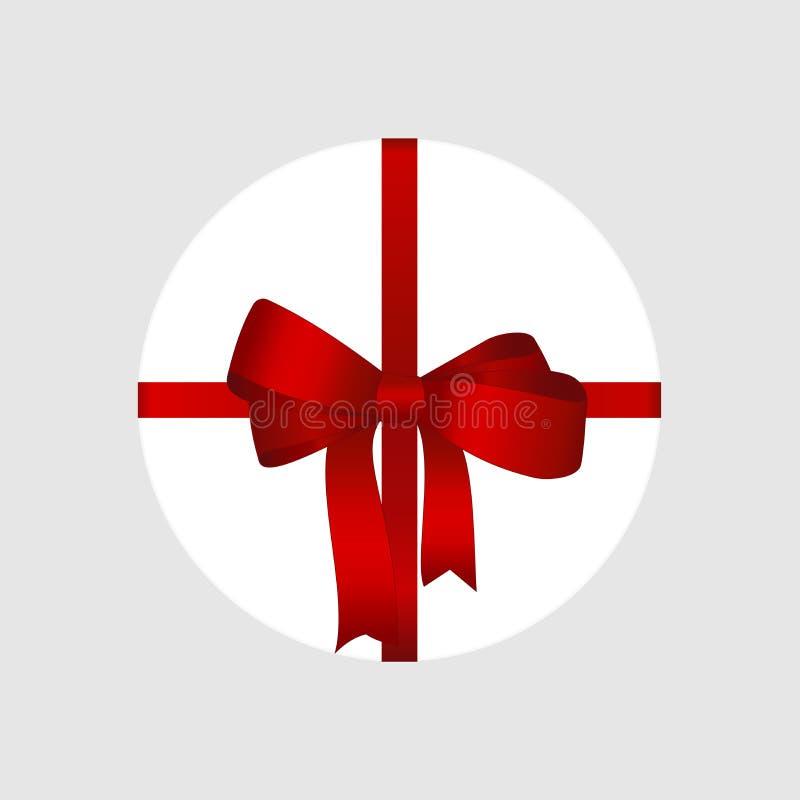 Caja de regalo redonda blanca del vector con cierre rojo brillante de la opinión superior del arco y de la cinta para arriba aisl stock de ilustración