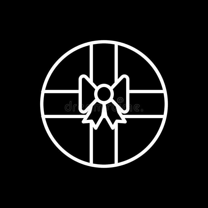 Caja de regalo redonda con la l?nea icono del arco E r libre illustration