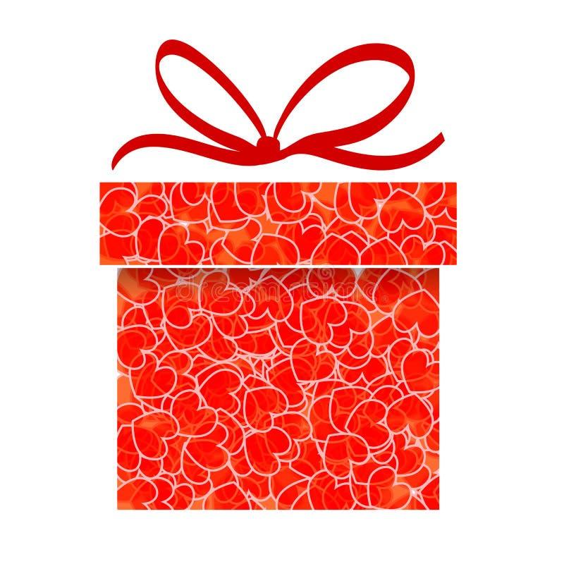 Caja de regalo roja abstracta con el modelo del corazón ilustración del vector