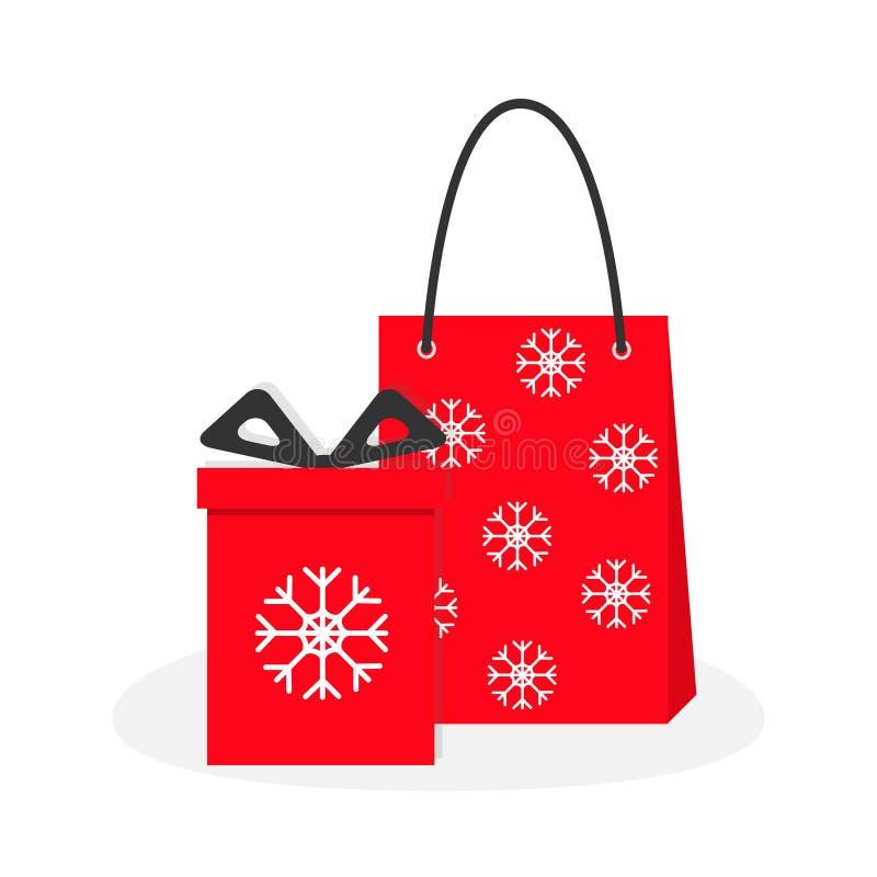 Caja de regalo roja con el arco de la cinta, panier de papel snowflake stock de ilustración
