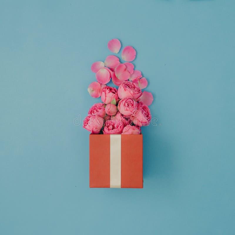 Caja de regalo roja llena de rosas rosadas en fondo azul fotos de archivo
