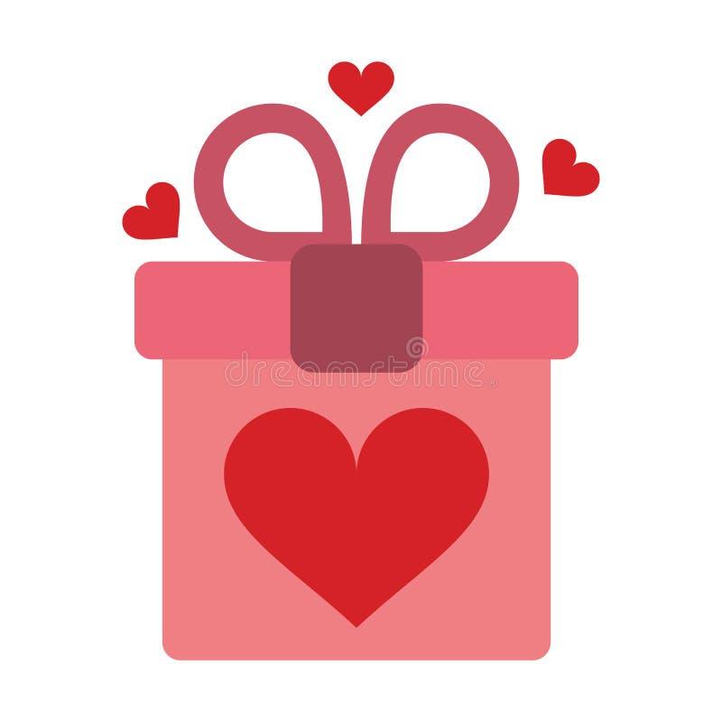Caja de regalo rosada con el corazón y el arco ilustración del vector