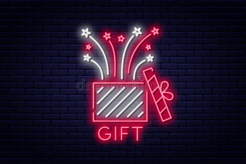 Caja de regalo, señal de neón Concepto de la recompensa o de la prima, premio o sorpresa Regalo y fuego artificial, tablero de ne ilustración del vector