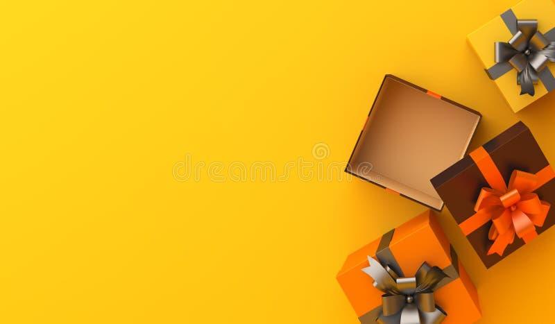 Caja de regalo sobre fondo naranja, copia espacio de texto área. Diseñar el concepto creativo de celebración feliz de Halloween libre illustration