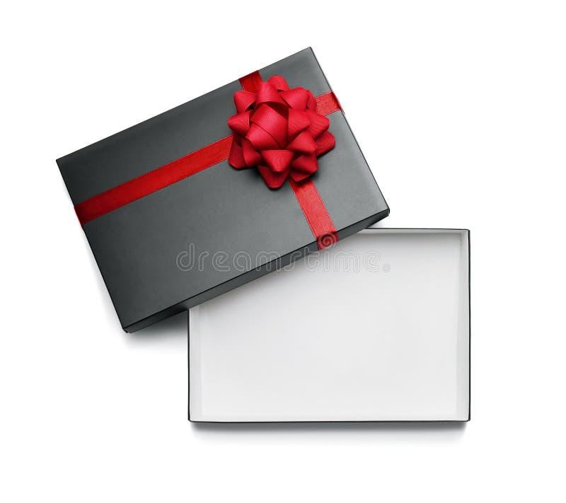 Caja de regalo vacía, abierta aislada en blanco imagenes de archivo