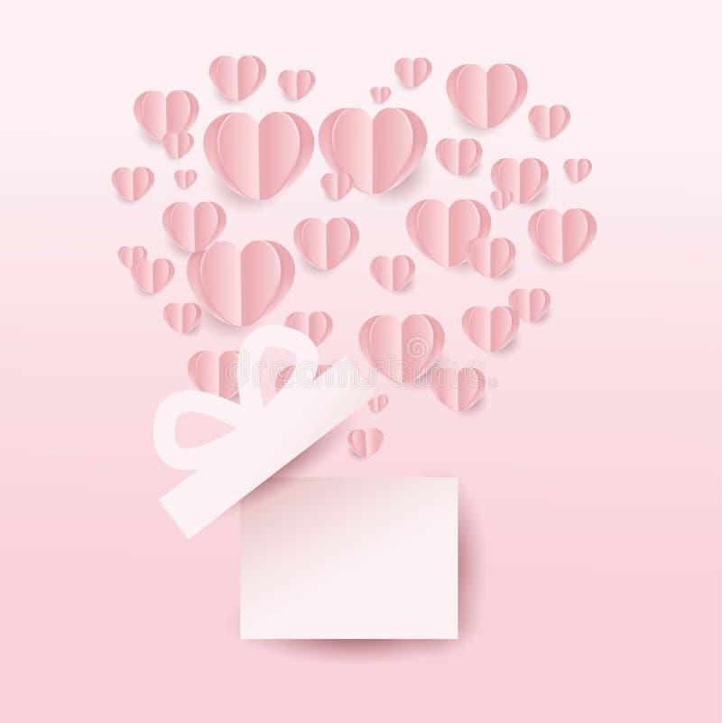 Caja de regalo de Valentine's y corazones vuelo, forma del corazón en fondo rosado estilo del corte del papel Ilustración del v stock de ilustración