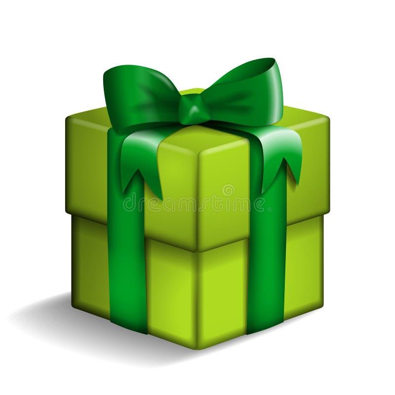 Caja de regalo verde stock de ilustración