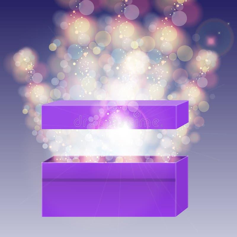 Caja de regalo violeta abierta con y luces del haz libre illustration