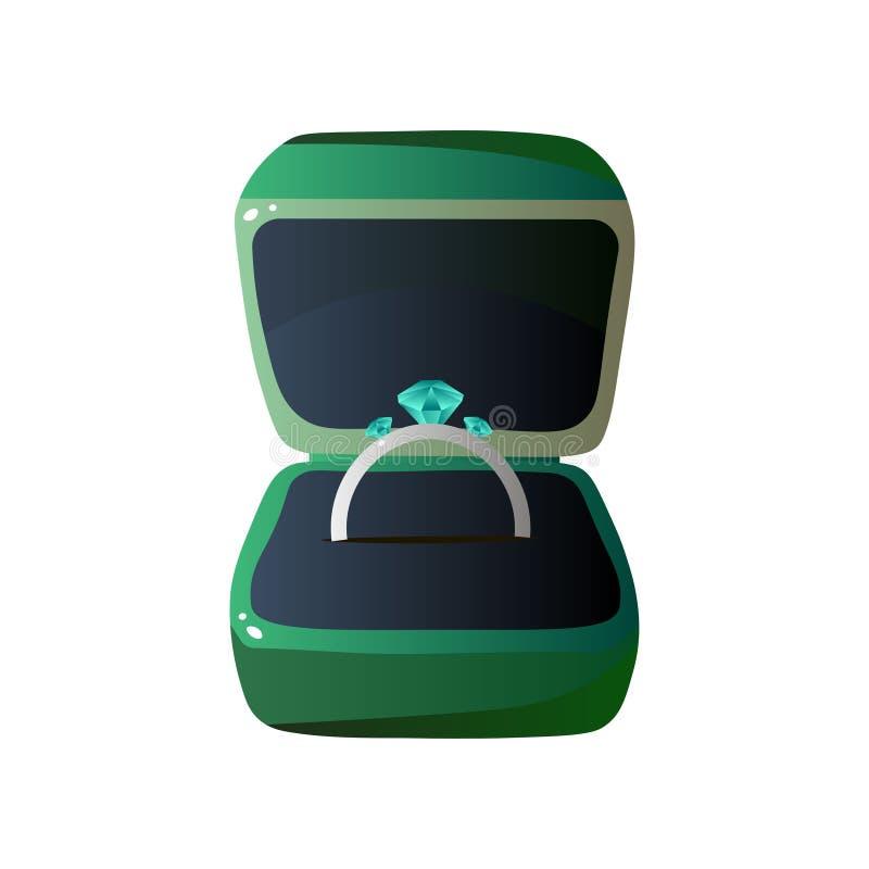 Caja de regalo y anillo abiertos terciopelo verde con las piedras preciosas, ejemplo formado cuadrado del vector de la caja de la ilustración del vector