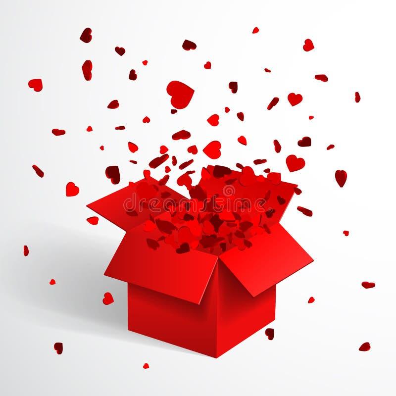 Caja de regalo y confeti rojos abiertos del corazón La Navidad y Valentine Background Ilustración del vector ilustración del vector
