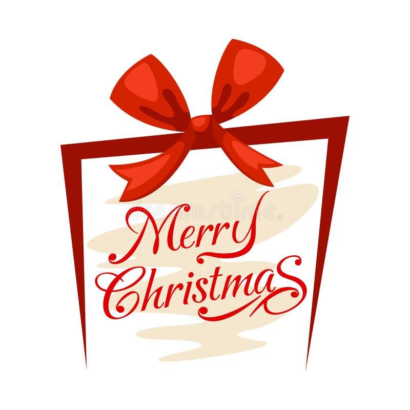 Caja de regalo y Feliz Navidad ilustración del vector