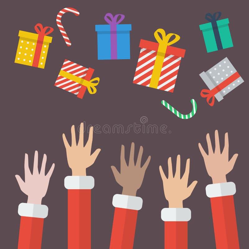 Caja de Santa Hands With Christmas Gift stock de ilustración
