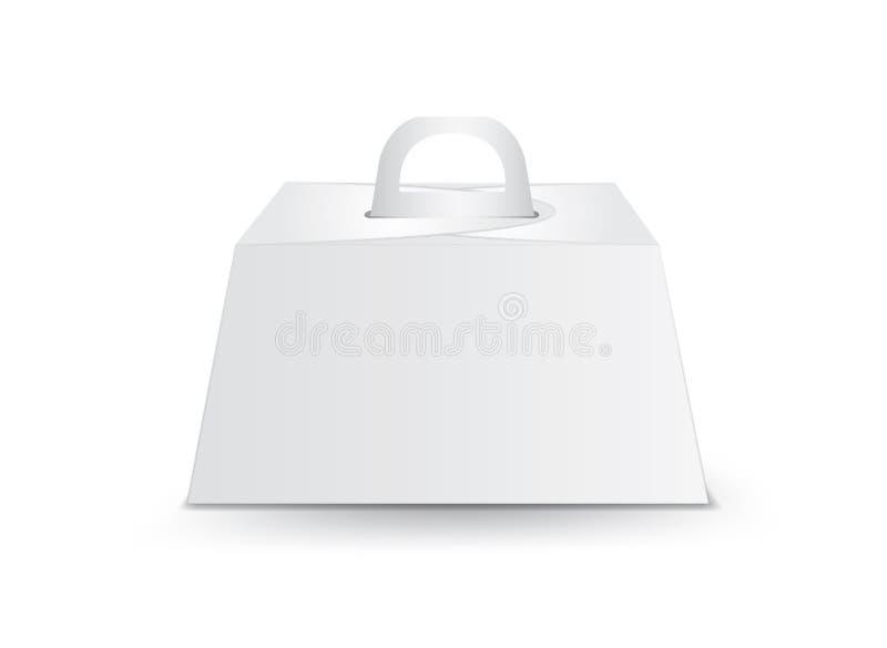 Caja de torta de cumplea?os que cuida, vector blanco de la caja del paquete, dise?o de paquete, 3d caja, dise?o de producto ilustración del vector