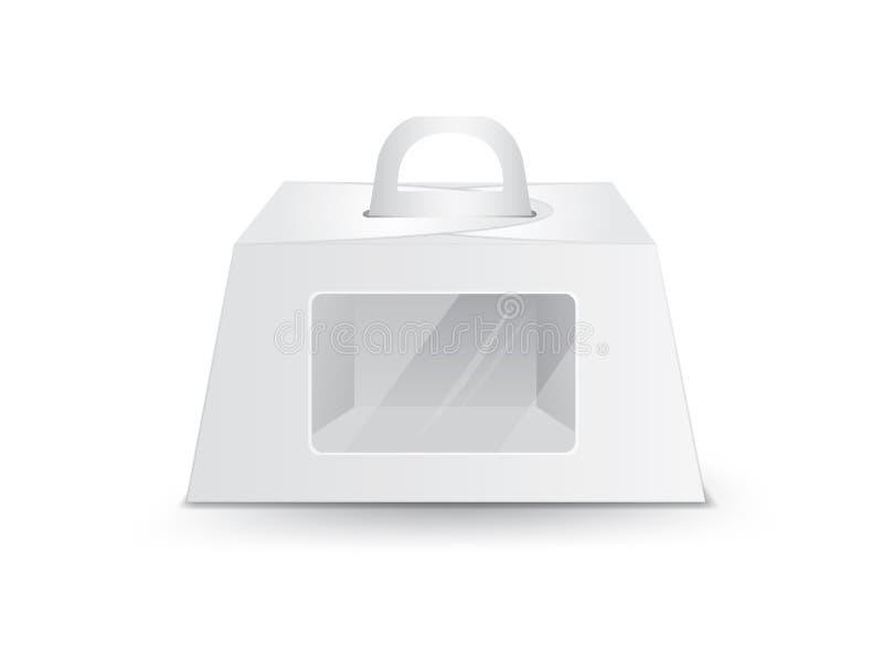 Caja de torta de cumplea?os que cuida, vector blanco de la caja del paquete, dise?o de paquete, 3d caja, dise?o de producto stock de ilustración