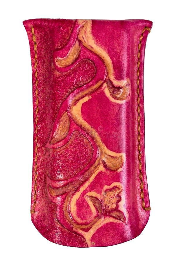 Caja de vidrios rosada del cuero repujado en blanco imágenes de archivo libres de regalías