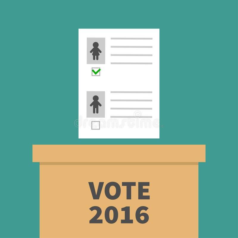 Caja de votación de la votación con el concepto en blanco de papel de la mujer del hombre del boletín Colegio electoral Voto 2016 ilustración del vector