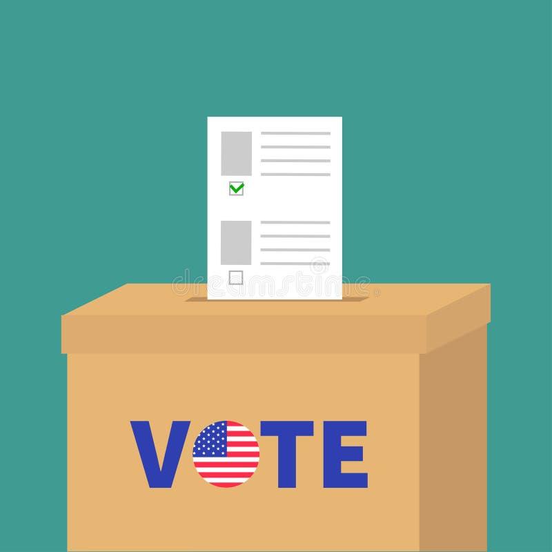 Caja de votación de la votación con el concepto en blanco de papel de la opción del boletín Colegio electoral Botón redondo de la stock de ilustración