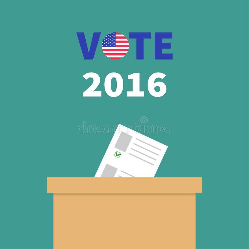 Caja de votación de la votación con el concepto en blanco de papel de la opción del boletín Colegio electoral Insignia redonda de stock de ilustración