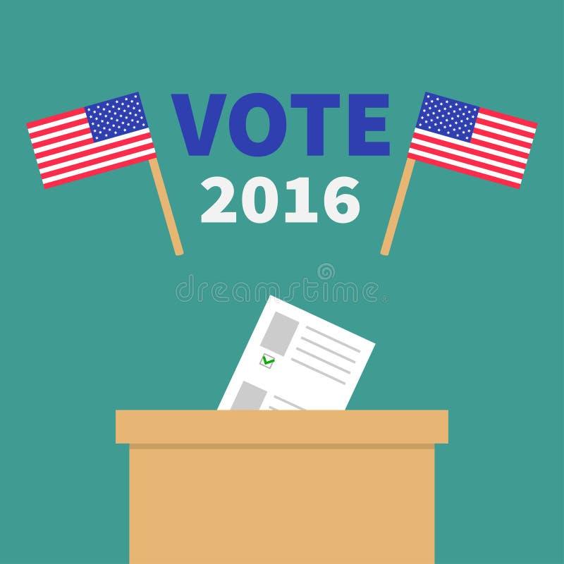 Caja de votación de la votación con el concepto en blanco de papel del boletín Colegio electoral libre illustration