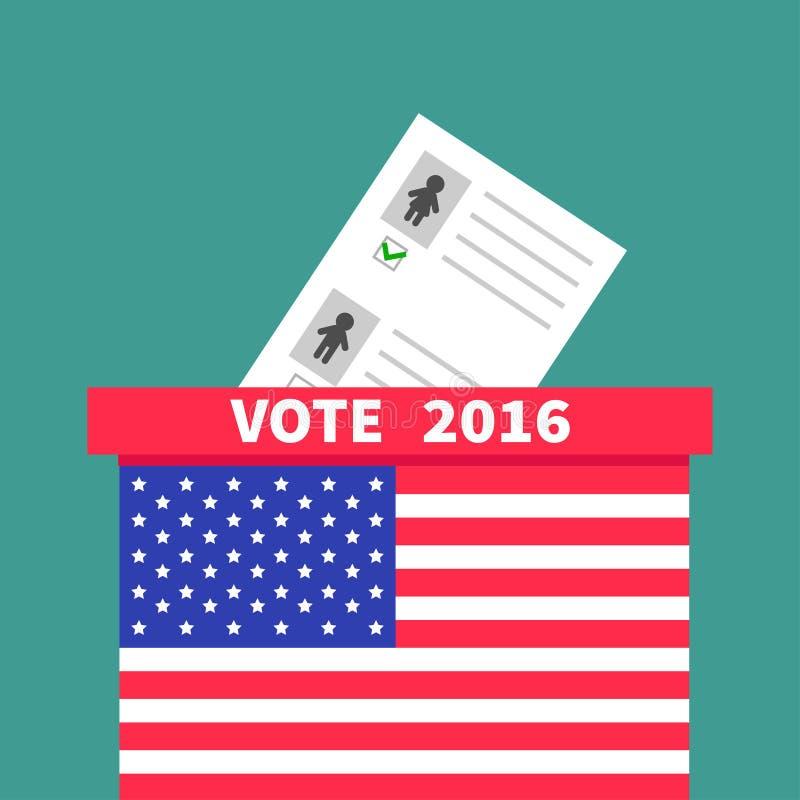 Caja de votación de la votación de la bandera americana con el concepto en blanco de papel de la mujer del hombre del boletín Col stock de ilustración