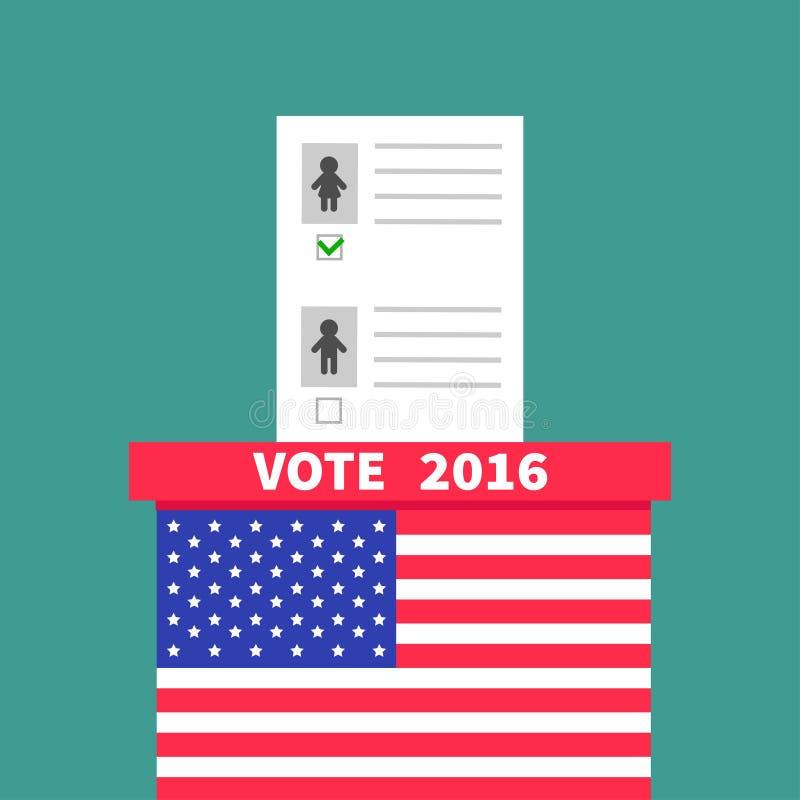 Caja de votación de la votación de la bandera americana con el concepto en blanco de papel de la mujer del hombre del boletín stock de ilustración