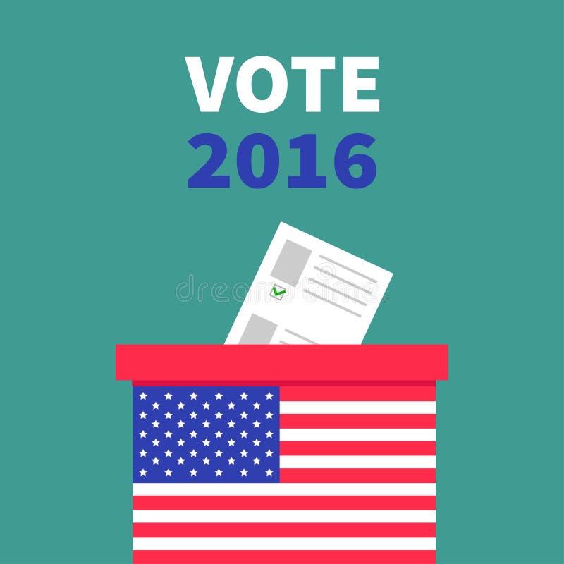 Caja de votación de la votación de la bandera americana con el concepto en blanco de papel del boletín Colegio electoral libre illustration