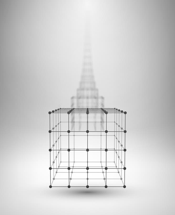 Caja de Wireframe Cubo con las líneas y los puntos conectados ilustración del vector