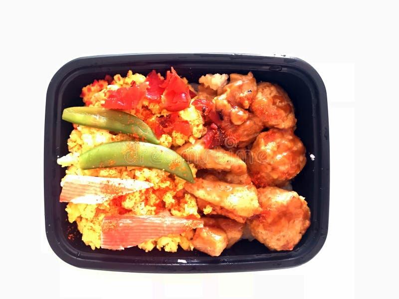 Caja del almuerzo asada a la parrilla del pollo del estilo japonés fotos de archivo libres de regalías