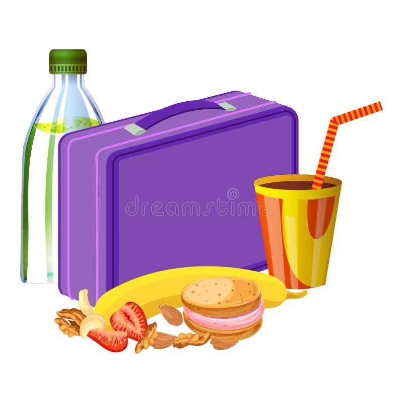 Caja del almuerzo violeta con el icono de la bebida, estilo de la historieta ilustración del vector