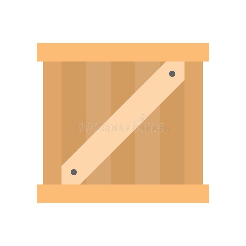 Caja del cajón de madera, entrega plana del envío del icono y relat logístico stock de ilustración