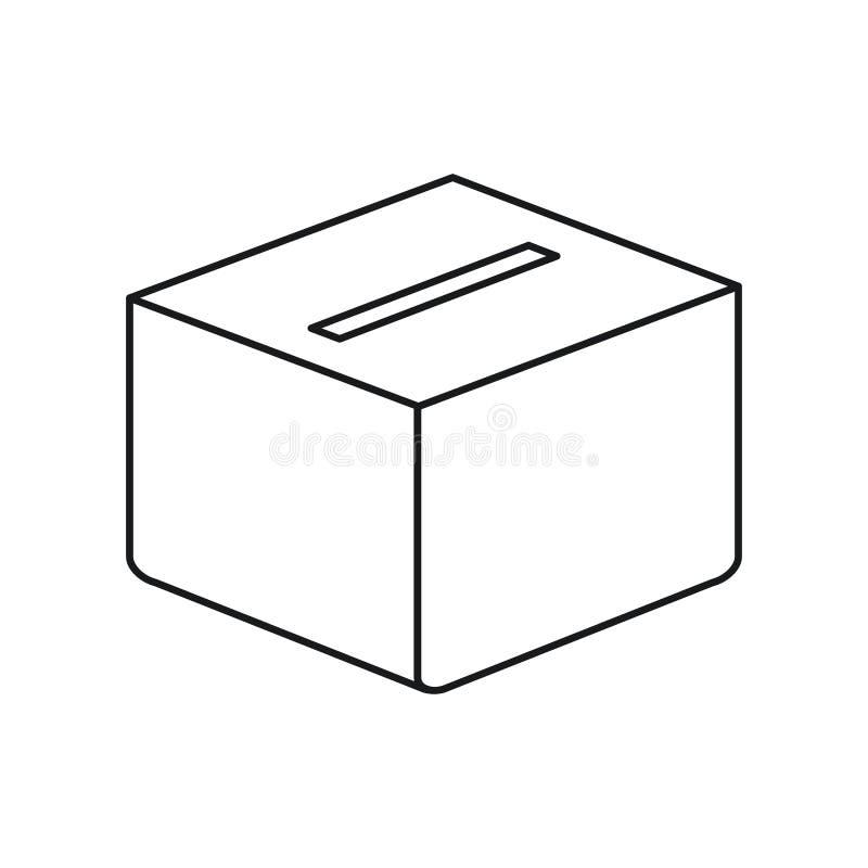 Caja del carboard de la silueta con la ranura ilustración del vector