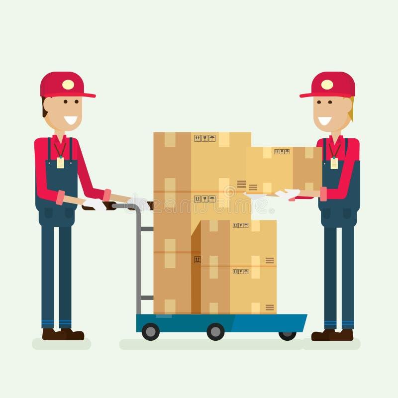Caja del cargo del trabajador del servicio de entrega en almacén vec del ejemplo ilustración del vector