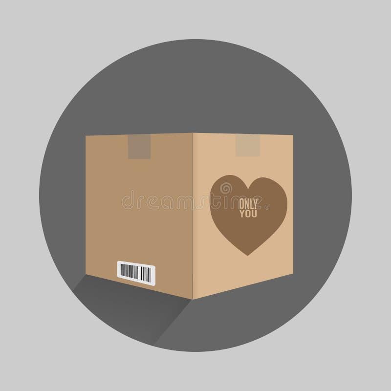 caja del cartón con un corazón en sólo usted ilustración del vector