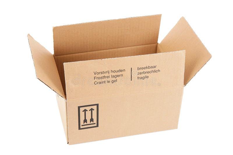 Caja del cartón en el fondo blanco imagen de archivo libre de regalías