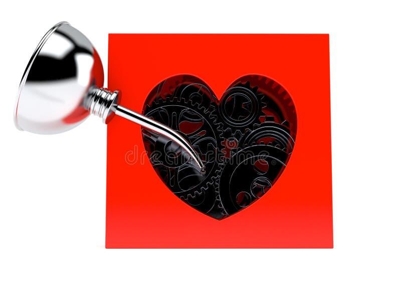 Caja del corazón con los engranajes libre illustration