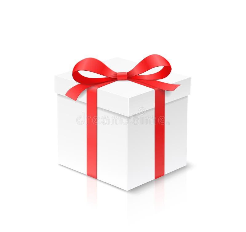 Caja del cubo del regalo con el nudo del arco del color rojo y cinta aislada en el fondo blanco libre illustration