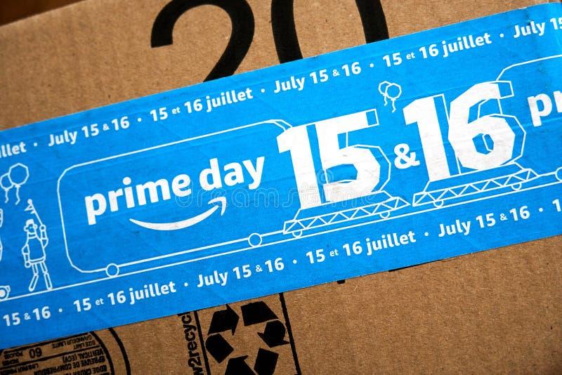 Caja del d?a del Amazon Prime imagen de archivo