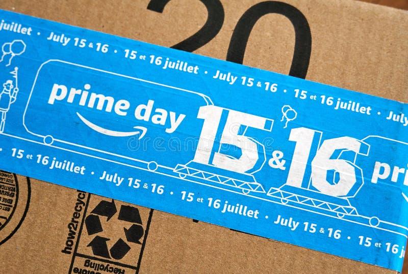 Caja del d?a del Amazon Prime foto de archivo libre de regalías
