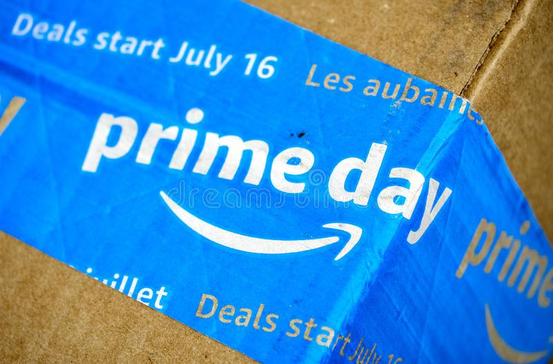 Caja del d?a del Amazon Prime fotos de archivo libres de regalías