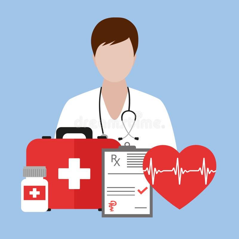 Caja del doctor Holding First Aid Conjunto médico del icono Diseño médico sobre el fondo blanco ilustración del vector