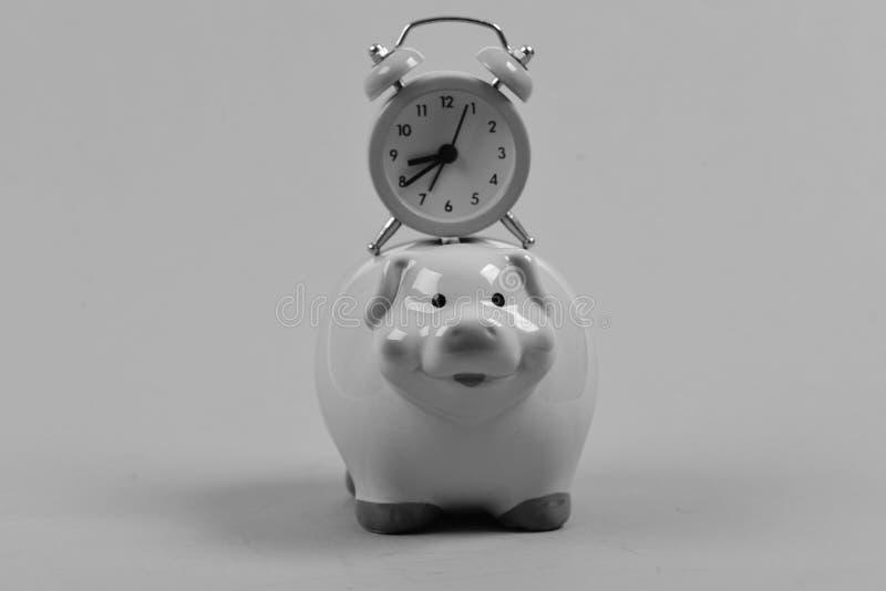 Caja del efectivo con renta financiera Cerdo de cerámica del juguete con el cronómetro rosado en el top en fondo verde Hucha con  foto de archivo libre de regalías