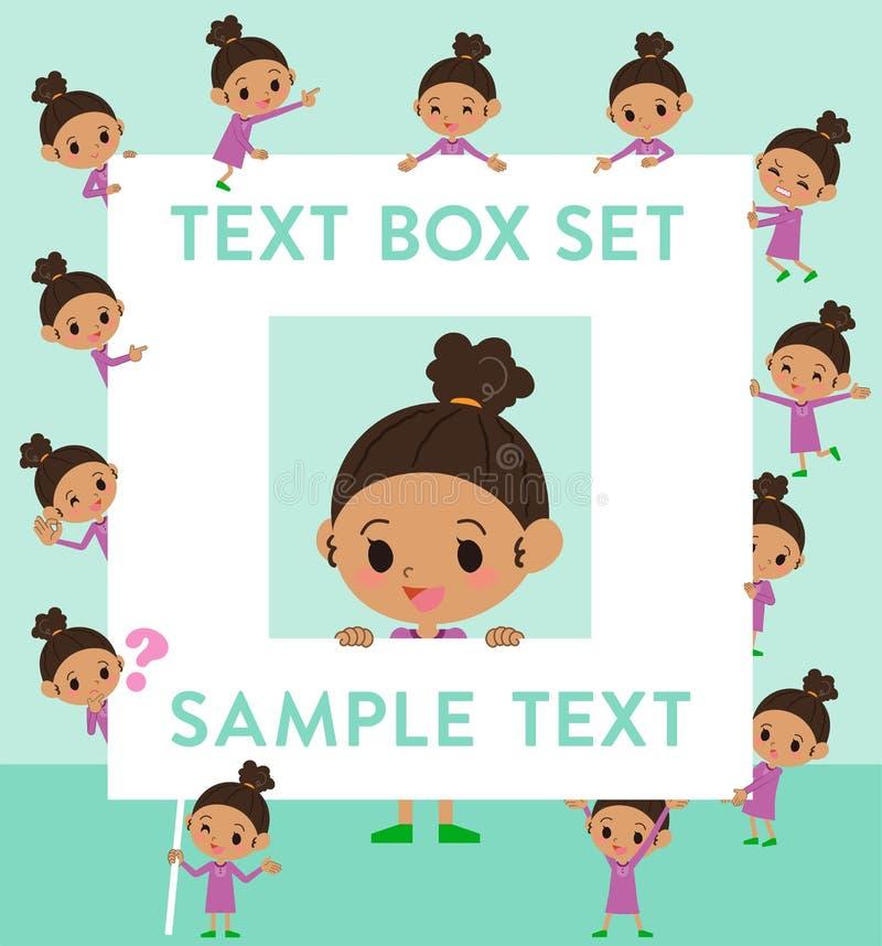 Caja del girl_text del pelo de la ondulación permanente stock de ilustración
