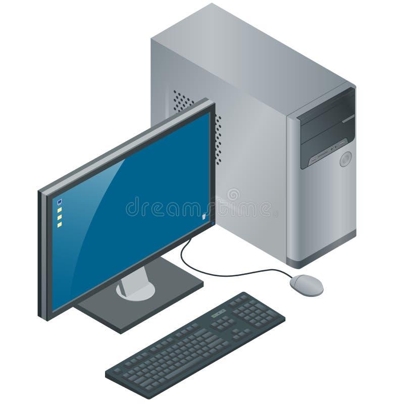 Caja del ordenador con el monitor, el teclado y el ratón, aislados en el fondo blanco, PC, ejemplo isométrico del vector plano 3d stock de ilustración